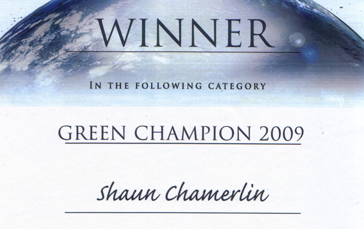 My Green Champion certificate