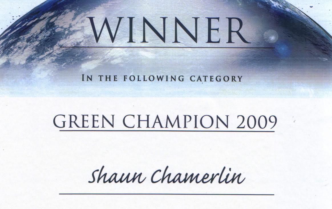 My Green Champion certificate