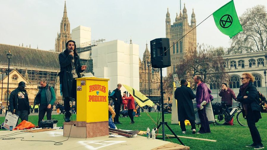 Shaun Chamberlin of Dark Optimism and Extinction Rebellion - Parliament Square - 17-04-2019