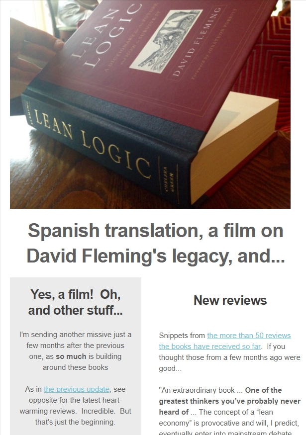 Screenshot from Aug 17 mailout about the reception for David Fleming's books, including the forthcoming film