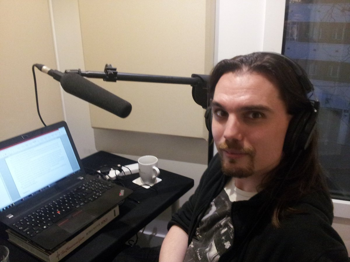 Shaun Chamberlin in studio recording the audiobook of Surviving the Future
